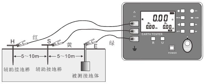 接地电阻简易测试接线如下图